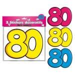 3 stickers décoratifs 80 ans