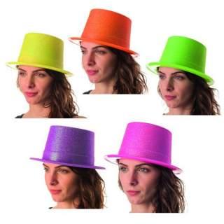 Chapeau haut de forme fluo paillettes