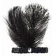 Bandeau noir à paillettes et plumes