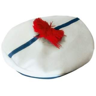 Béret marin avec pompon rouge
