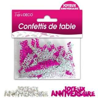 Confettis De Table Joyeux Anniversaire Rose Argent Mega Fete