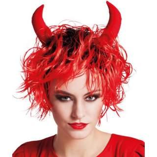 Perruque diablesse rouge avec cornes