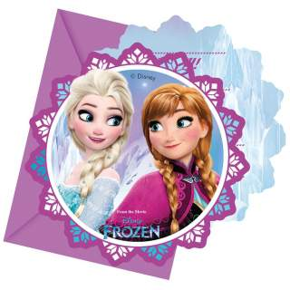 6 cartes d'invitation La Reine des Neiges