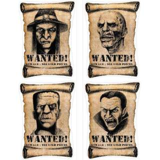4 affiches autocollantes wanted Halloween
