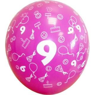 Sachet de 10 ballons chiffre 9