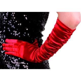 Gants satinés plissés rouge