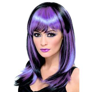 Perruque de sorcière noire et violette