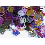 Confettis chiffre 80 multicolores