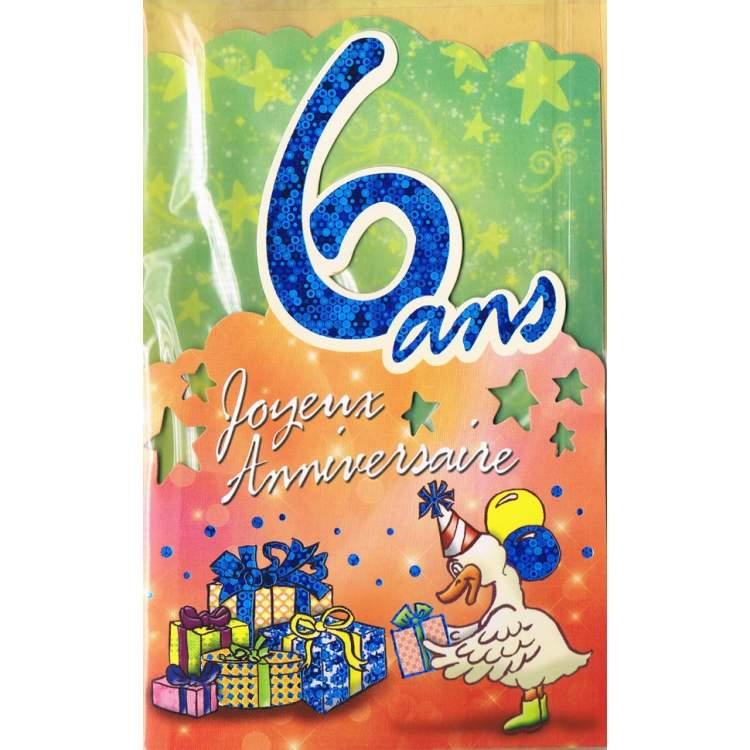 Carte Joyeux Anniversaire 6 Ans Mega Fete