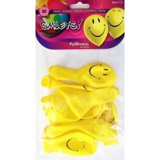 10 ballons smiley jaune
