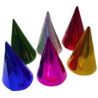 6 chapeaux coniques métallisés assortis