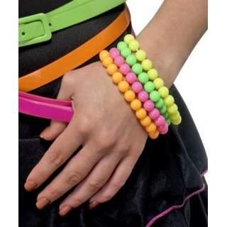 4 bracelets perles fluos assortis