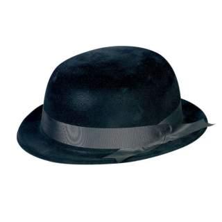 Chapeau melon noir flocké
